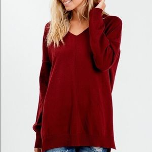 Burgundy Ultra Soft V Neck Sweater